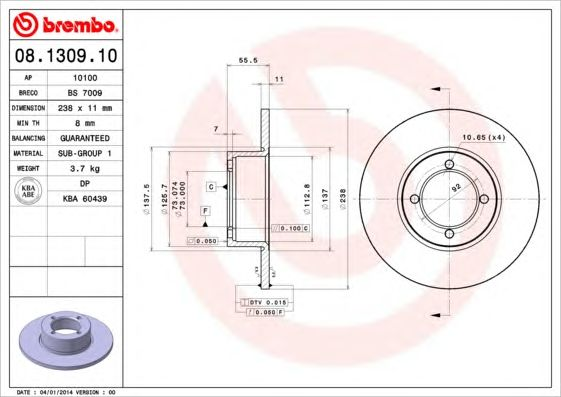 BREMBO 08.1309.10 - Brake Disc