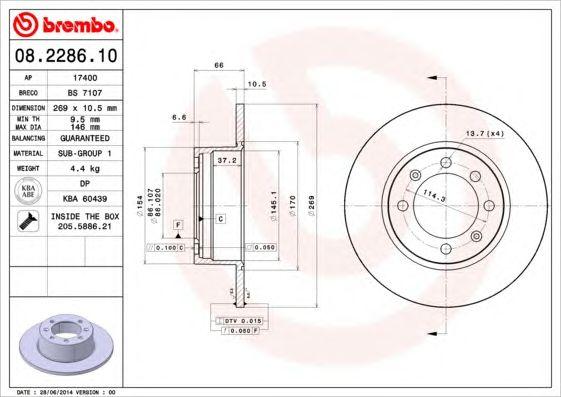 BREMBO 08.2286.10 - Brake Disc