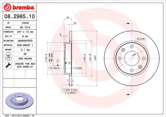 BREMBO 08.2985.10 - Brake Disc