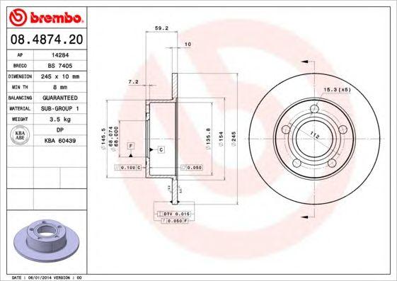 BREMBO 08.4874.20 - Brake Disc