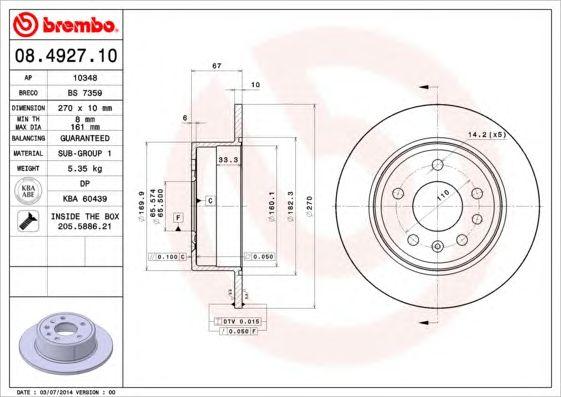 BREMBO 08.4927.10 - Brake Disc