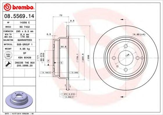 BREMBO 08.5569.14 - Brake Disc