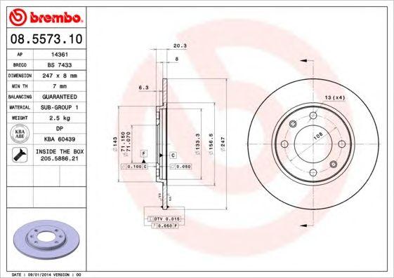 BREMBO 08.5573.10 - Brake Disc