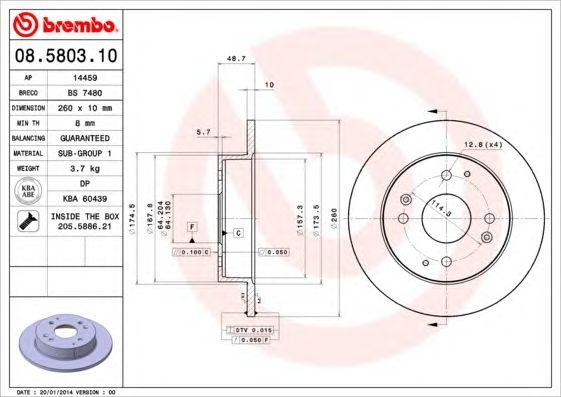 BREMBO 08.5803.10 - Brake Disc