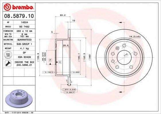 BREMBO 08.5879.10 - Brake Disc