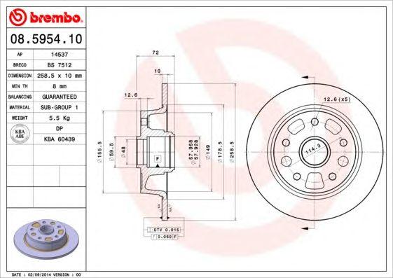 BREMBO 08.5954.10 - Brake Disc