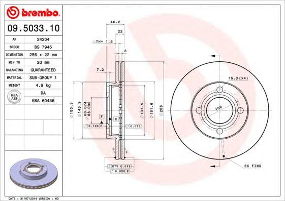 BREMBO 09.5033.10 - Brake Disc